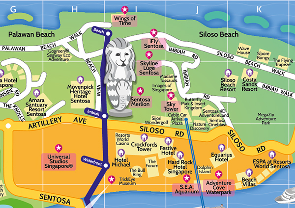 Tourist Map of Sentosa Singapore on Pantone Canvas Gallery – Tourist Map Of Singapore City