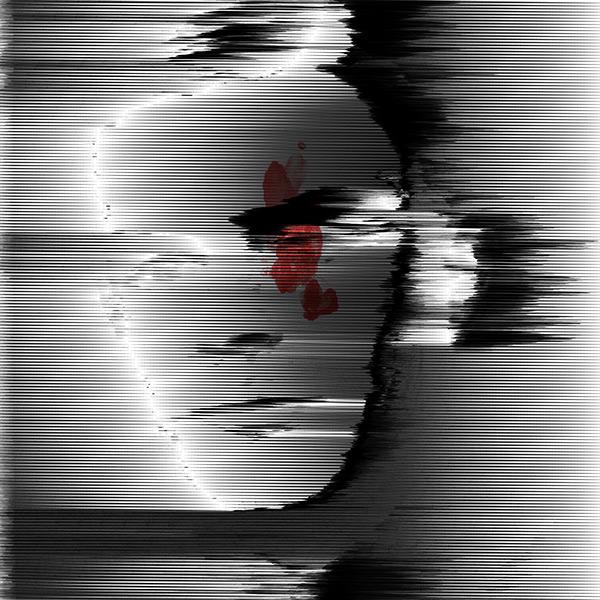 Alan Turing portrait black & white Monochrome + Red dark