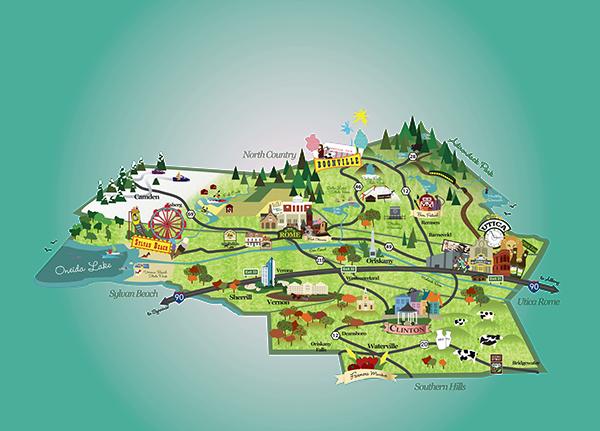 Oneida County Illustrated Map On Behance