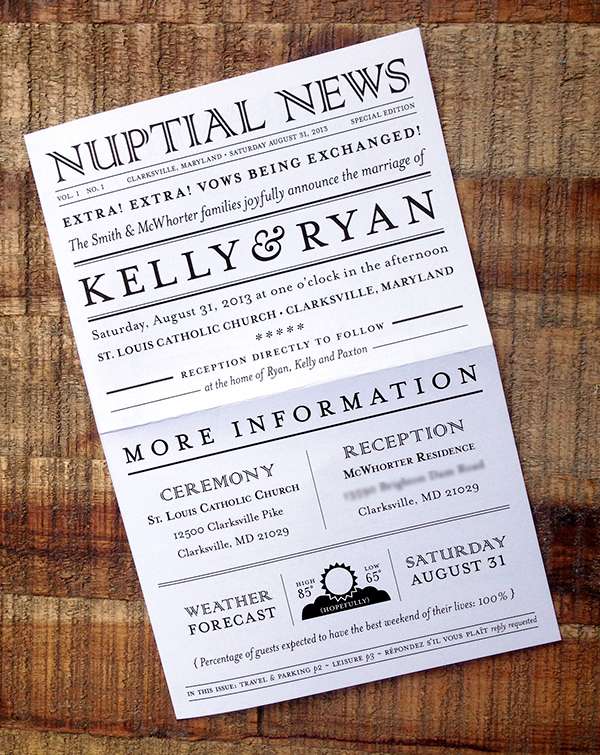 Double Bi Folded Newspaper Themed Wedding Invitations Front