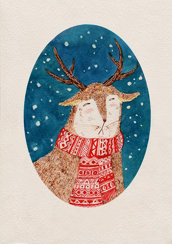 Открытка на новый год с оленями