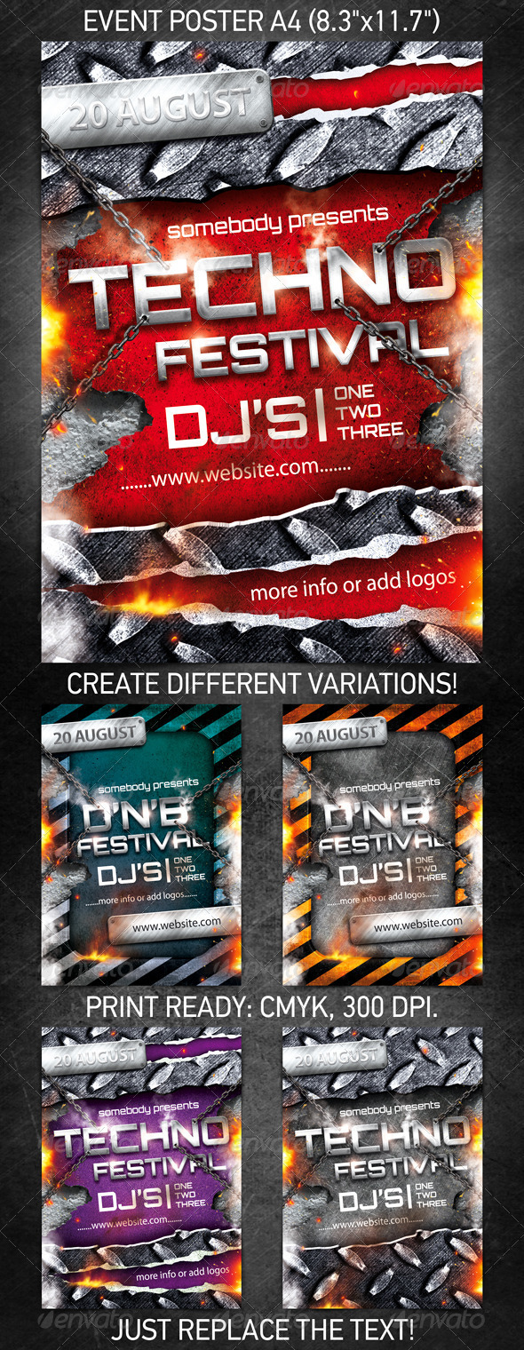Techno Festival Event Poster PSD Template On Behance