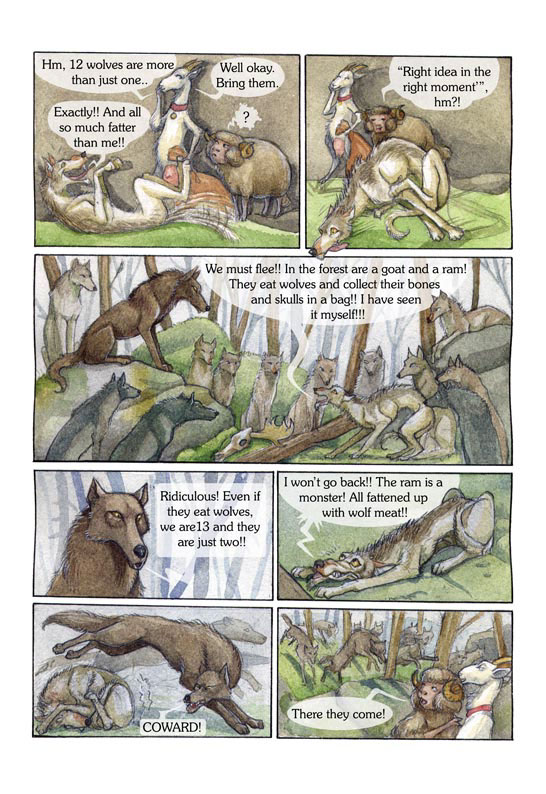comic animals wolves fairy tale Watercolours comics legend finland goat