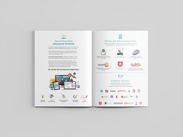 Pesona Edu's company profile and product catalogue books inside view that shows what PesonaEdu is
