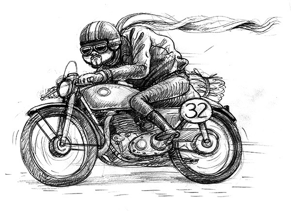 Isle Of Man motorbike GRAND PRIX gatotonto spain lettering hand drawing pencil photoshop digital painting run wacom