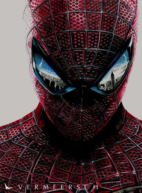colour drawing the amazing spiderman on behance