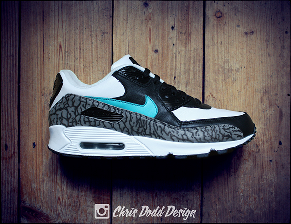 save off e5d20 a3f85 ... Nike Air Max 90 Leather Customized as seen in the Pictures Handpainted  with specific leather This was achieved by using a wood burning tool black  ...