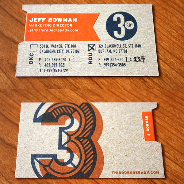 Third degree business cards on behance more specific information like names titles and email addresses are on affordable self adhesive stickers that are laid across the chipboard template colourmoves