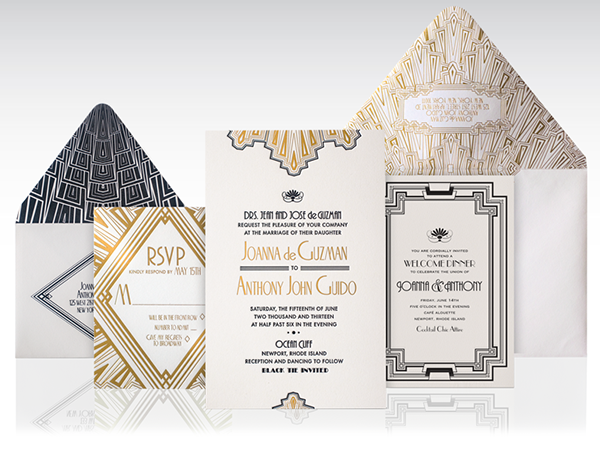 1920s art deco wedding invitation on behance