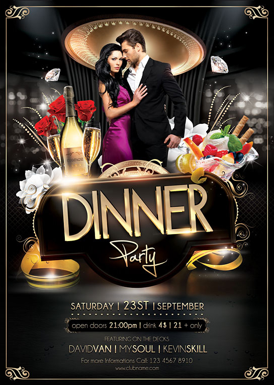 Dinner Party Flyer Template on Behance