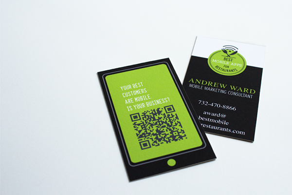 the client wanted a business card and logo that would reflect the importance of mobile apps while promoting their business creating and developing mobile - Freelance Business Cards
