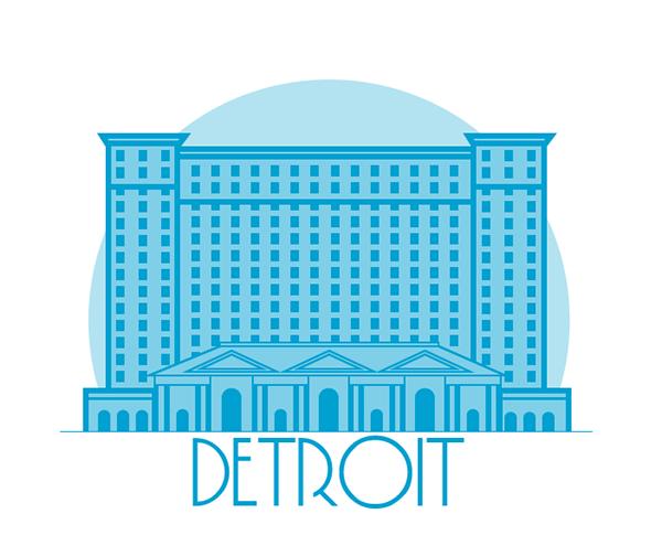 detroit Michigan building line trains blue