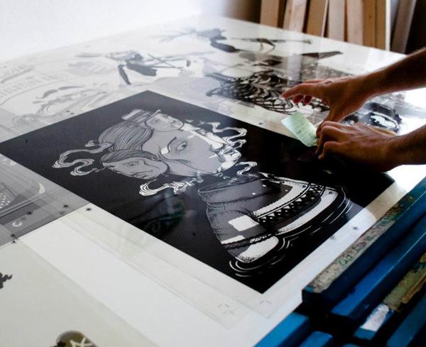 silkscreen face streetart seacreative art graphic poster