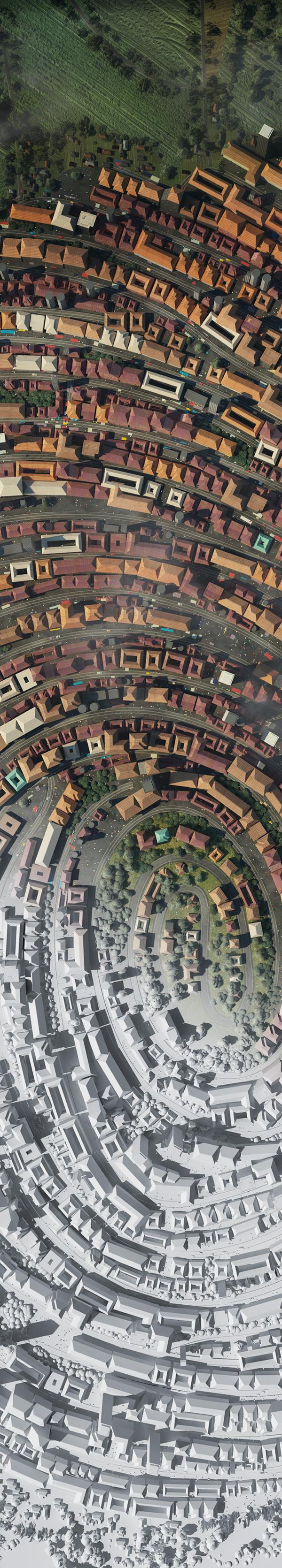 3D 3Dillustration 3D illustration CGI rendering city map google maps google satelite picture Satelite fingerprint Birds Eye maps Urban