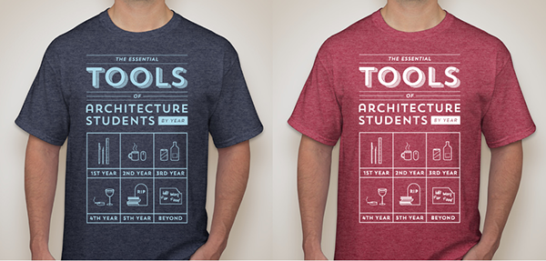 Essential tools of architecture students t shirt on behance for Architecture student t shirts