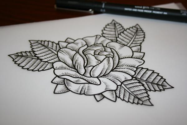精品的33款玫瑰花刺青欣賞