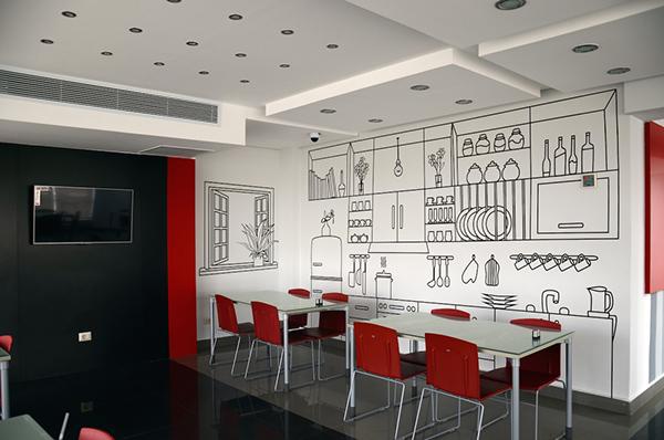 Cafeteria Walls Line Art Illustration On Behance