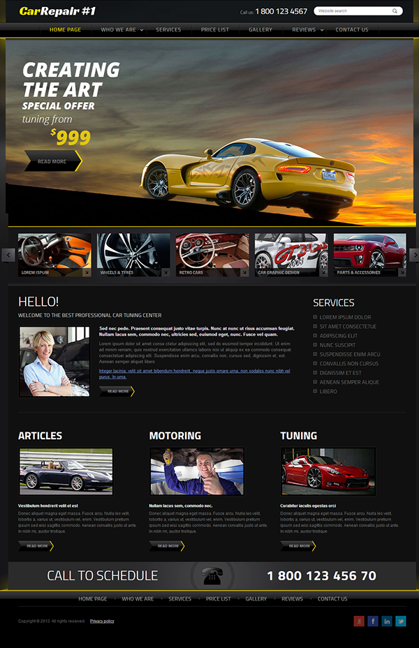car repair service 1 joomla template on behance. Black Bedroom Furniture Sets. Home Design Ideas