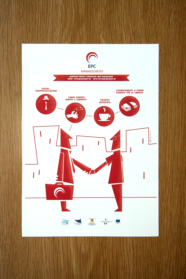 crabtoon EPC management European Consulting money menager 2D red infographic Icon Italy sicily poster print