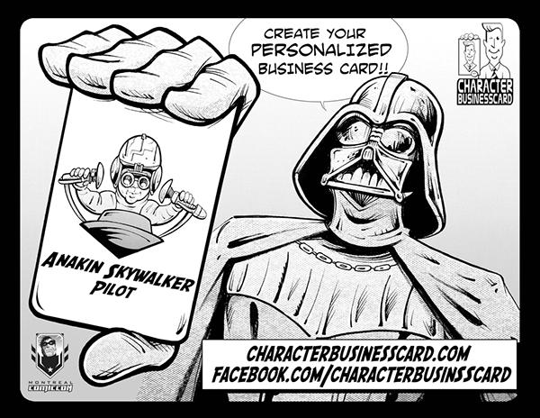 business card caricature   characters superheroes spiderman batman superman Hulk Ninja Turtles star wars