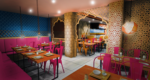 indian restaurant concept design london haringey on behance. Black Bedroom Furniture Sets. Home Design Ideas