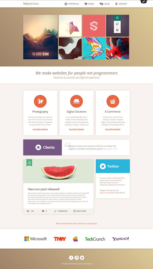 Metro Vibes - WordPress Theme on Behance