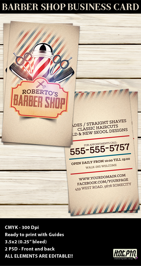 barber shop business card template on behance
