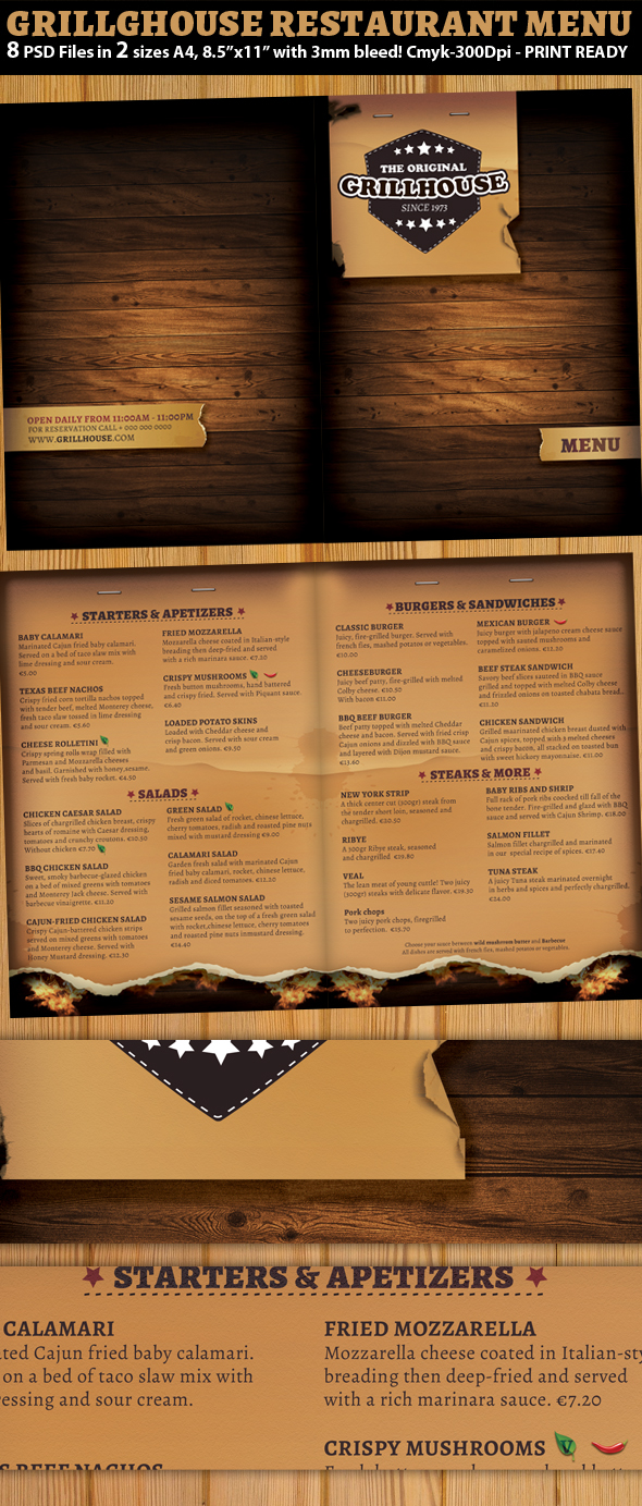 Grill restaurant menu template on behance pronofoot35fo Images