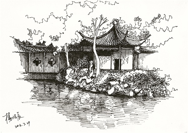 Pen Drawings Of Traditional Chinese Gardens And Palace On Behance