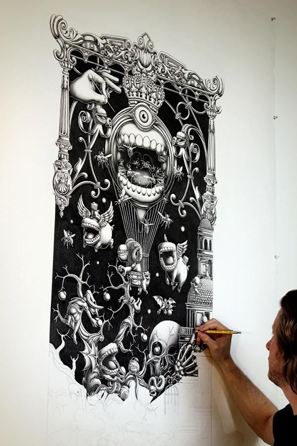 A Triptych – The Landing 2012 – Panel 1 by Joe Fenton