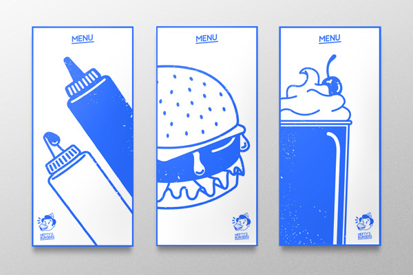 Food  Fast food restaurant identity Burgers menu Coffee Small Business Brand Design logo mark blue max fleischer stationary corporate