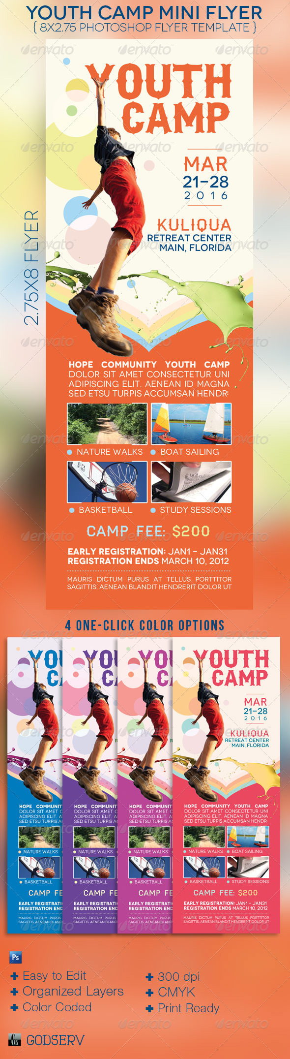youth camp mini flyer template on behance