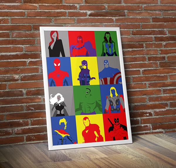 Marvel Character Design Behance : Marvel minimalist poster on behance