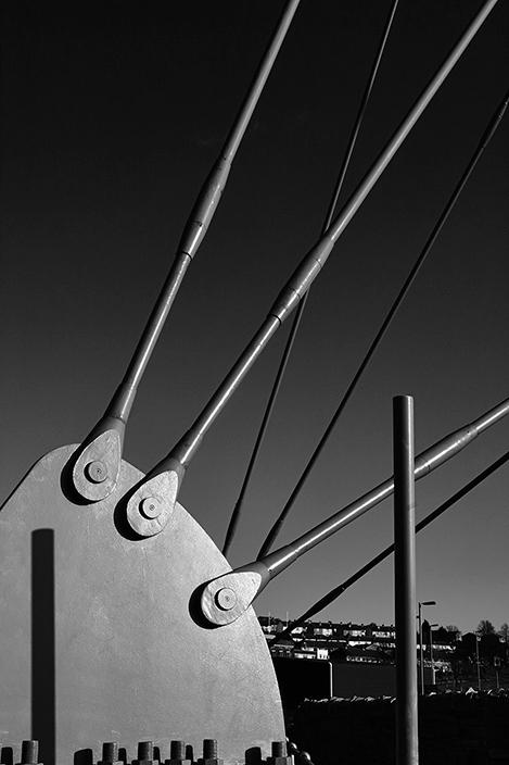 Steel ties on footbridge over Aire Valley Link Road, Bingley.