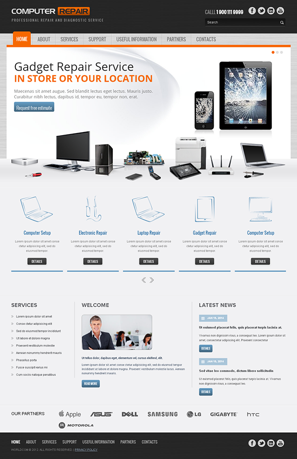 Computer Repair Responsive Wordpress Template on Behance