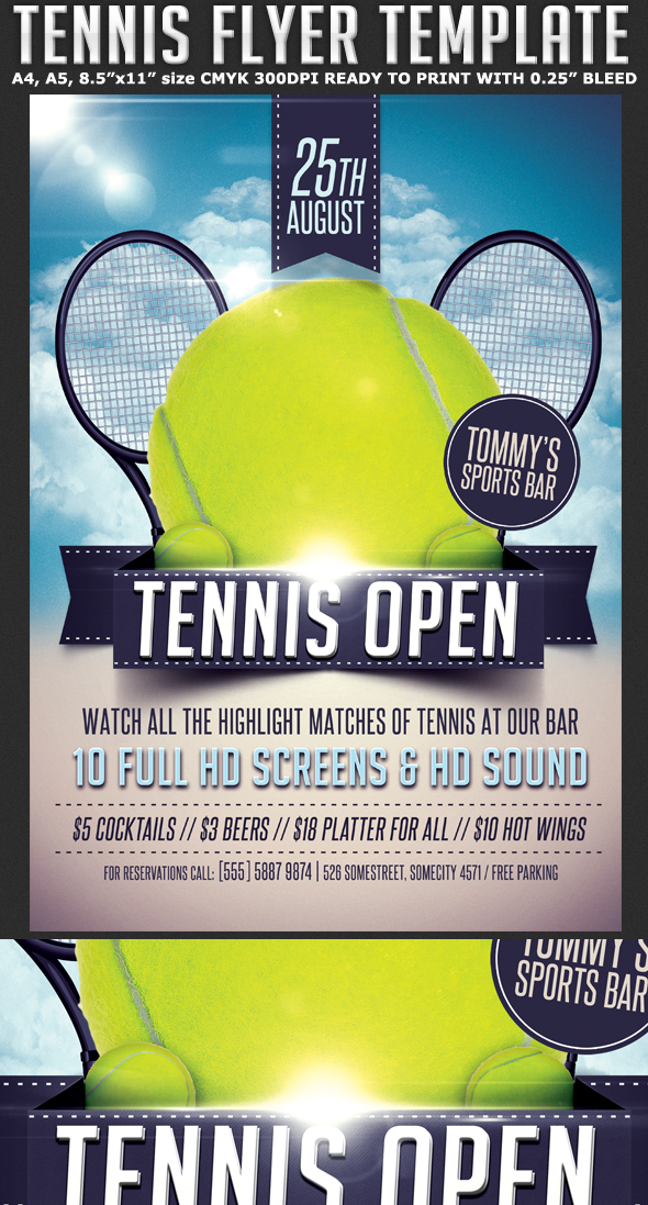 Tennis Tournament Flyer Template On Behance