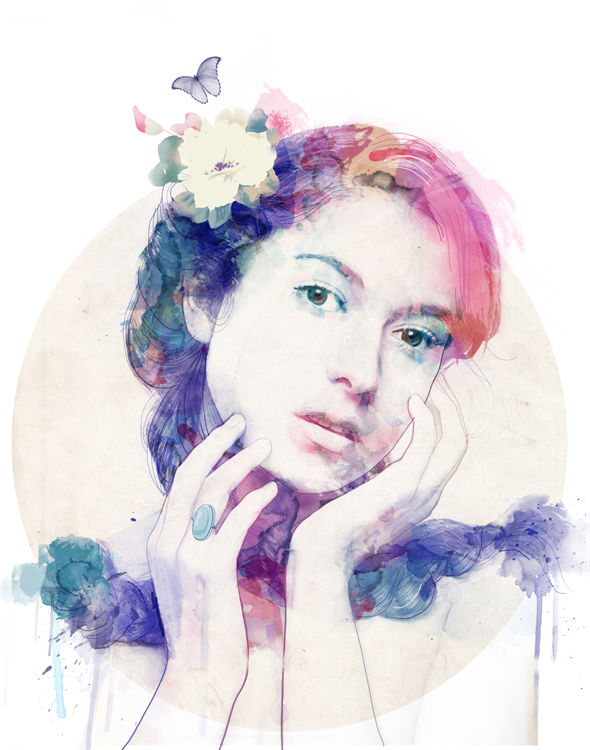 Woman Portraits In Blue Watercolor Paint
