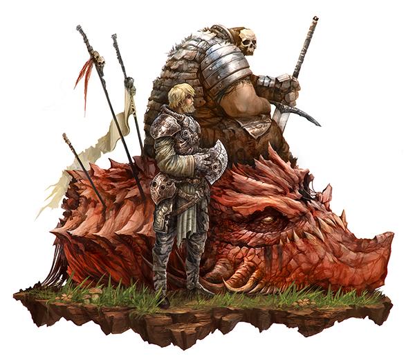Hunters badass hell knight concept art Sword skull dragon fantasy heroic epic buddies eyardt artwork