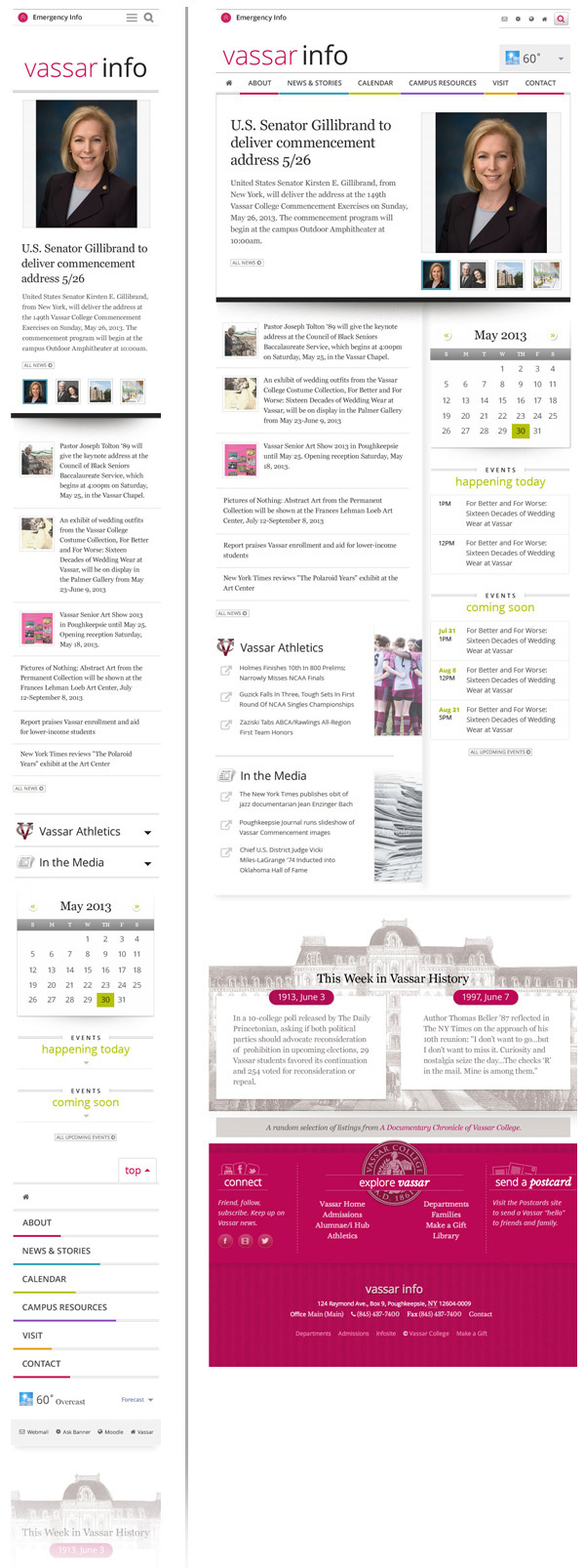 vassar college newspaper information calendar drop-down navigation clean mobile Responsive Design