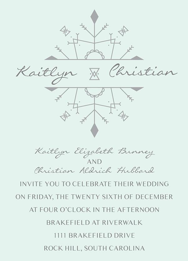wedding invitation winter snowflake wedding mint green invitations