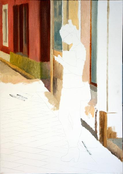 figure street scene Oils