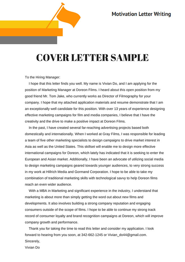 Cover Letter Sample On Pantone Canvas Gallery