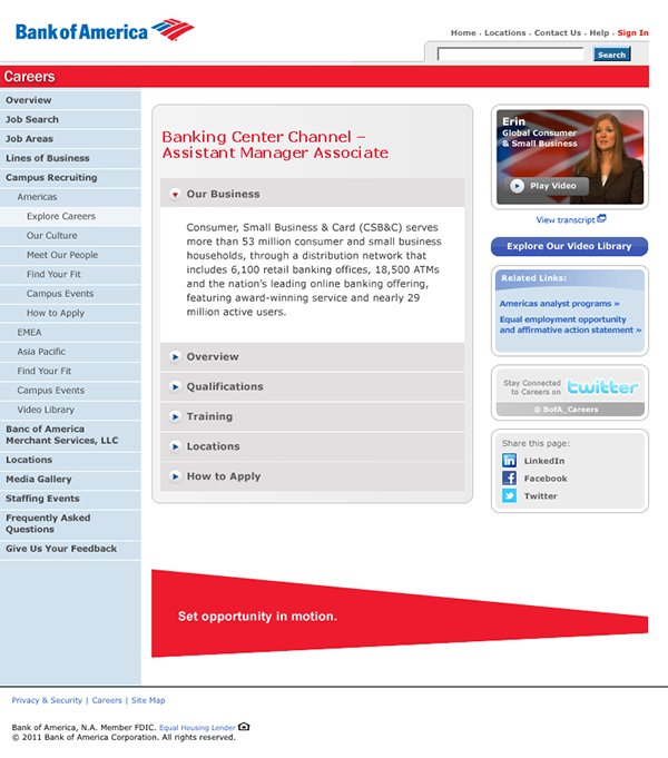 bank of america careers official site