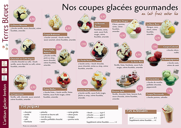 Carte de glaces on behance - Un restaurant propose en dessert des coupes de glace ...