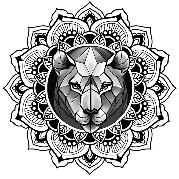 lion in mandala tattoo sketch ornamentaldotwork on
