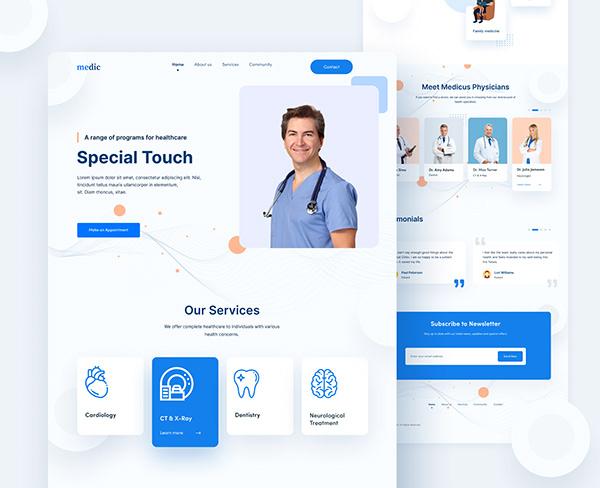 Medical website landing page