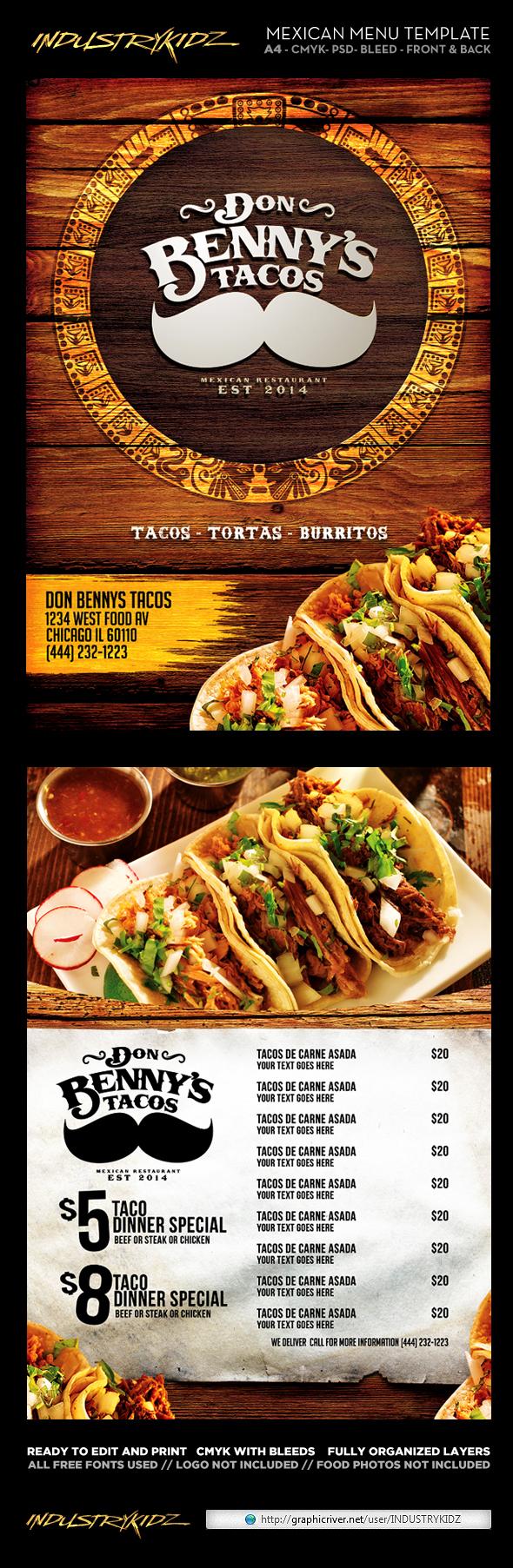 mexican menu template