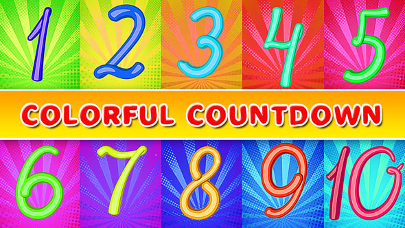 countdown colorful cartoon bounce bubble Candy count flat Fun intro kids numbers opener spring timer