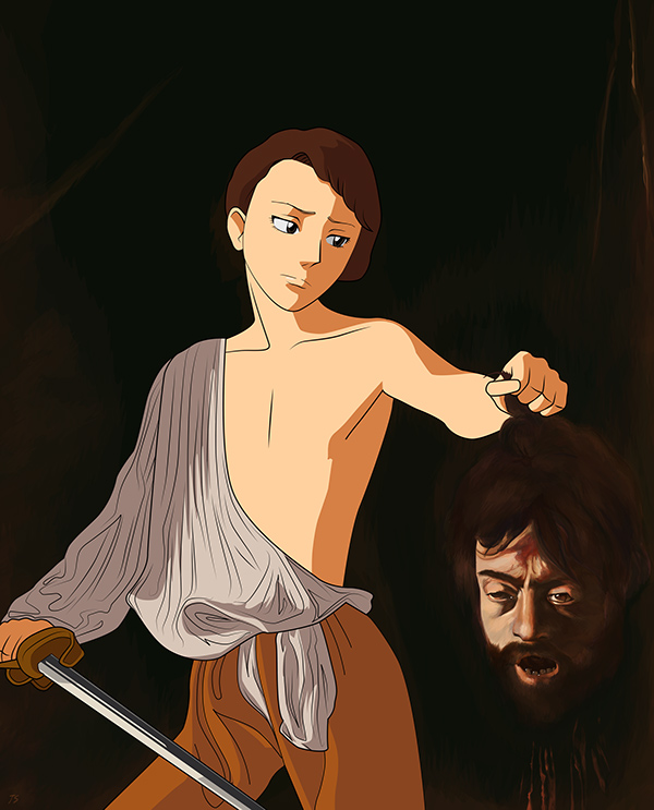 David with the Head of Goliath (after Caravaggio) by Thea Stevens