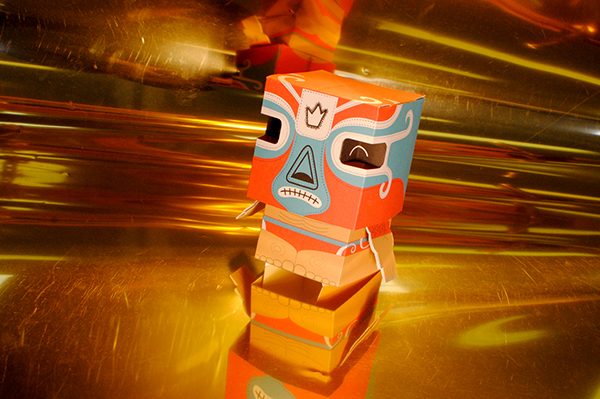 luchador Mexican paco red paper toy paper toy Wrestler fold template